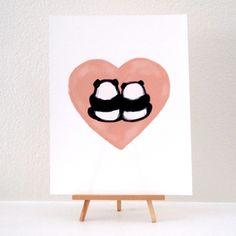 """Image of """"Panda Bums in Love"""" Art Print"""