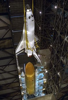 Assembling the Space Shuttle Atlantis for Mission STS-79, on August 1, 1996, at the NASA Vehicular Assembly Building (VAB).