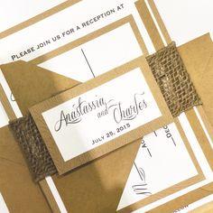 Custom Handmade Burlap & Wood Grain Rustic Wedding Invitation Suite by The Paper Penguin, $7/suite #rusticweddings #rusticchic #burlap #rusticweddinnginvitations