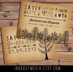 Rustic Save the Date Card, Trees, Forest, Rustic Wedding - woodland wedding, woods, Vintage, Antique, typography. about $2.70 ea., via Etsy.