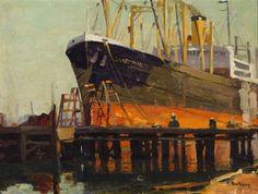 Ferdinand Kauffmann (1864 - 1942). Ship in Los Angeles Harbor. Oil on Board. 11.75 x 15.75 in.