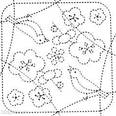 Japanese Embroidery Patterns Home / Birds 84 - Sashiko White Sampler - Sashiko Embroidery, Embroidery Sampler, Paper Embroidery, Japanese Embroidery, Learn Embroidery, Crewel Embroidery, Hand Embroidery Patterns, Embroidery Designs, Embroidery Scissors