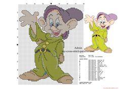 Back stitch cross stitch pattern Disney Dopey Dwarf The Seven Dwarfs