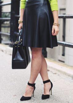 A little ladylike, a little daring (helloooo, leather skirt!)