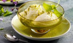 Mousse, Ice Cream, Desserts, Food, Pistachios, Basil, Syrup, Swiss Guard, Milk