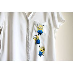 30 L Size Ready to Ship Minions Handpainted Shirt Pocket Shirt Short... ($30) ❤ liked on Polyvore