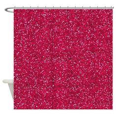 Dark Pink Glitter Shower Curtain
