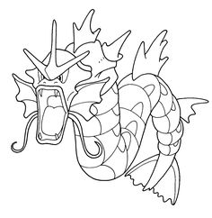 Pokemon Coloring Pages Colouring Pages, Adult Coloring Pages, Coloring Books, Coloring Stuff, Pokemon Party, Pokemon Fan, Gyrados Pokemon, Pokemon Coloring Sheets, Easy Drawings