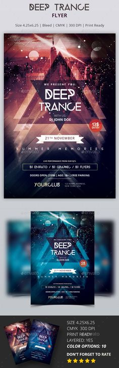Deep Trance Party Flyer Template PSD #design Download: http://graphicriver.net/item/deep-trance-psd-party-flyer/13681334?ref=ksioks