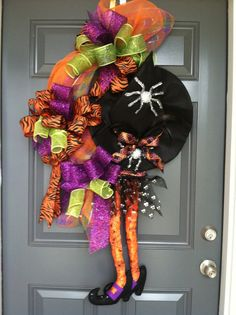 Witch Halloween wreath by CindysSilks on Etsy, $85.00