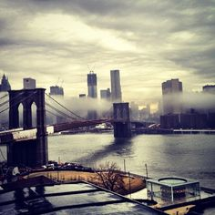 NYC / Manhattan laced with fog, via different window  (Taken with Instagram at Carrot Creative @ 45 Main St, ste 1200)