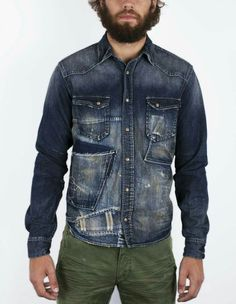 Raw Denim, Denim Jeans, Denim Shirts, Estilo Denim, American Dress, Denim Fashion, Men Casual, Indigo, Men Clothes
