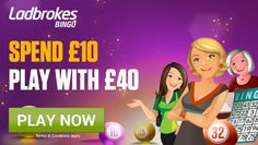 Play online bingo for huge jackpots with the bingo site of the year. Deposit £10 and Play with £40 when you register. Join Ladbrokes Bingo today! - http://www.allcasinosite.com/