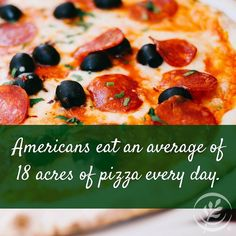 Happy National Pizza Day! Apparently Americans like the #wheat #cheese and #meat of pizza if we can eat that many acres of it. Try throwing some veggies on to kick up the #nutritional value of #pizza. #nationalpizzaday