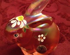 Items similar to Vintage Fenton Hand Painted Pink Bunny Rabbit Glass Figurine on Etsy Glass Figurines, Fenton Glass, Glass Collection, Bunny Rabbit, Piggy Bank, I Shop, Hand Painted, Christmas Ornaments, Rabbits
