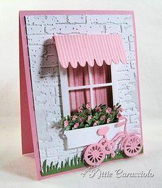 Savvy Stamps dies (Awning, Bike), Poppystamps dies (small Madison Window, small Flower Box), Memory Box die (Flower Mound), My Favorite Things die (Fresh Cut Grass), Tim Holtz embossing folder (Bricked).