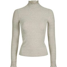 Topshop Long Sleeve Frill Neck Top in Cream via Polyvore featuring tops, white long sleeve top, ruffle neck top, cream long sleeve top, cream top e white top