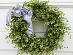 Summer Wreath, Boxwood Wreath, Nautical Wreath, Patriotic Wreath, Coastal Decor, Year Round Wreath, Green Wreath, Summer Door Wreath, Wreath