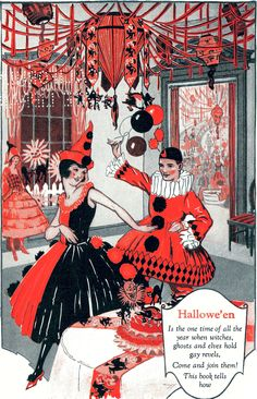 """""""Halloween party"""" - Taken from Dennison's Bogie Book, a 1924 Guide for Vintage Decorating and Entertaining at Halloween and Thanksgiving day."""