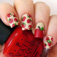 Did my nails. Apple nail art....