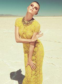 Fashion photography | by Paula Kudacki | yellow desert glow | statement necklace I yellow crochet dress | summer editorial @monstylepin