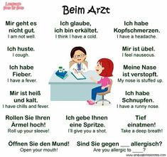 Beim Arzt – peg tei - Picbilder- Wir Für Bilder - New Ideas Study German, German English, Learn German, Learn English, Learn French, German Grammar, German Words, German Language Learning, Learning Spanish
