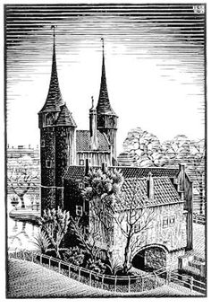 MC Esher -- Oostpoort, Delft 1939 woodcut