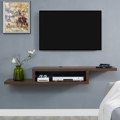Shop a great selection of Martin Furniture Asymmetrical Floating Wall Mounted TV Console, Columbian Walnut. Find new offer and Similar products for Martin Furniture Asymmetrical Floating Wall Mounted TV Console, Columbian Walnut. Wall Mount Tv Shelf, Tv Wall Shelves, Wall Mounted Media Console, Wall Tv, Mounted Tv Decor, Wall Mount Tv Stand, Wood Shelf, Mounting Tv On Wall, Wall Mirror