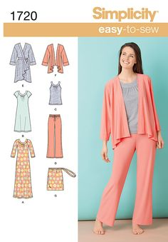 Simplicity : 1720 - Misses' Knit Sleepwear; Misses' knit loungewear includes nightgown and robe each in two lengths, banded neck tank top, yoga pants and drawstring pajama bag.