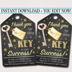 Printable Thank You Tags - Teacher & Staff Appreciation, Volunteer, Employee, Anyone! Employee Appreciation Gifts, Employee Gifts, Teacher Appreciation Week, Gifts For Employees, Employee Thank You, Staff Gifts, Volunteer Gifts, Teacher Gifts, Volunteer Quotes