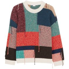 Stella McCartney Oversized patchwork wool sweater (48.355 RUB) ❤ liked on Polyvore featuring tops, sweaters, multi color sweater, over sized sweaters, knitwear sweater, oversized sweater and oversized wool sweater
