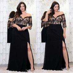 Black Lace Plus Size Prom Dresses With Half Sleeves Off The Shoulder V-Neck Split Side Evening Gowns A-Line Chiffon Formal Dress Plus Size plus size evening gowns Dresses Elegant, Plus Size Formal Dresses, Wedding Dresses Plus Size, Plus Size Wedding, Trendy Dresses, Plus Size Gala Dress, Trendy Wedding, Party Dresses, Dress Formal