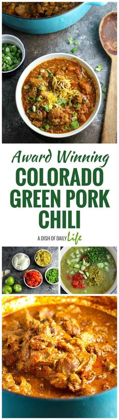 Tiger's Colorado Green Pork Chili This Award Winning Colorado Green Pork Chili is delicious and comforting, packed with flavor and tender chunks of pork! It& perfect for a chilly evening or game day. You need this chili recipe in your life! Chili Recipes, Pork Recipes, Mexican Food Recipes, Cooking Recipes, Ethnic Recipes, Mexican Dishes, Spanish Dishes, Cooking Ideas, Paleo Recipes