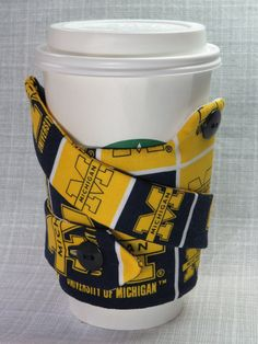 University of Michigan Coffee Cozy & Carry. Check out this item in my Etsy shop https://www.etsy.com/listing/220073162/university-of-michigan-u-of-m-coffee