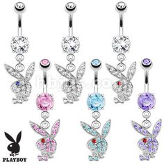 Details about Playboy Bunny * Multi Paved Gems CZ * Dangle Belly Button Navel Ring - piercings - Piercing Cartilage, Bellybutton Piercings, Piercing Ring, Cartilage Piercings, Piercing Ideas, Cute Belly Rings, Dangle Belly Rings, Belly Button Rings, Nose Rings