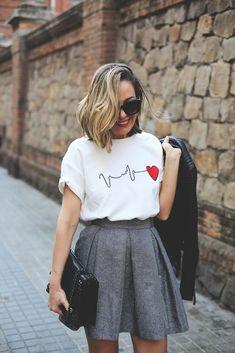 T-shirt motif cœur - blanc -EmmaCloth-Women Fast Fashion Online Fast Fashion, Look Fashion, Daily Fashion, Fashion Online, Autumn Fashion, Womens Fashion, Fashion Design, Paris Fashion, Summer Outfits