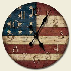 Faux Antique American Flag Wall Clock Americana Folk