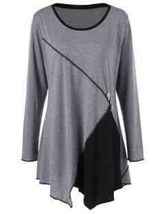 9e2d80c0b85 Plus Size Two Tone Asymmetric Tunic T-Shirt - BLACK GREY XL Asymmetrical  Tops