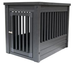 Dog crate with an espresso finish. Product: Dog crate Construction Material: ecoFLEX Color: Espresso Features: Latching door Built-in floor Dimensions: Small: 22 H x W x D Medium: H x W x D Large: 28 H x W x 24 D Note: Easy assembly required Portable Dog Kennels, Crate End Tables, Cat Crate, Airline Pet Carrier, Giant Dogs, Indoor Pets, Pet Carriers, Cool Pets, Dog Houses