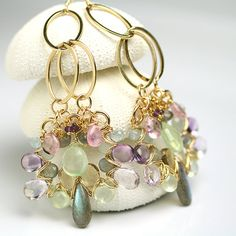 Long Glam Dangle Earrings Wire Wrapped Labradorite Pink Amethyst Champagne Citrine Prehnite