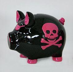 Amazon.com: Black Pirate Pig Pink Skull & Crossbones Piggy Bank: Baby