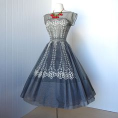 vintage 1950's dress ...pretty PAUL SACHS original scalloped embroidered gingham organza full skirt pin-up cocktail party dress with belt