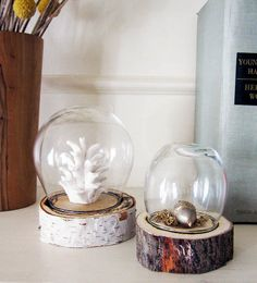 Gorgeous shaped handmade bell jars from broken wine glasses!