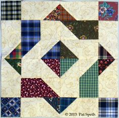 10 Huckleberry Finn by Pat Speth Star Quilt Blocks, Star Quilts, Scrappy Quilts, Quilt Block Patterns, Pattern Blocks, Easy Quilts, Half Square Triangle Quilts, Square Quilt, Quilting Projects