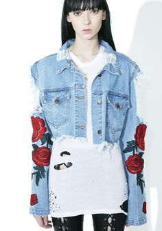 Desert Rose Distressed Jacket will quench thirst even at a desert, bb. This sik denim jacket has a cropped cut and features heavy distressing on the back, an open shoulder design, raw hem, button up closure, and roses on its sleeves.
