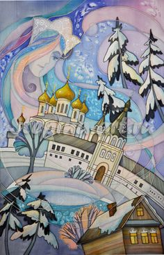 Kostroma (series Golden Ring of Russia) by Elena Stepin; batik, painting, drawing.