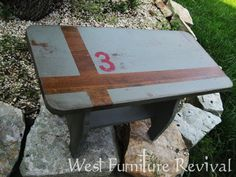 West Furniture Revival: FANCY STENCILED FOOTSTOOL REDO!