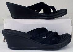 SKECHERS CALI black WEDGE slides flip flop SLIP ON elastic STRAP sz 9 Great cond #SKECHERS #FlipFlops