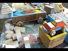 Aparas de madeira transformadas em brinquedos pedagógicos