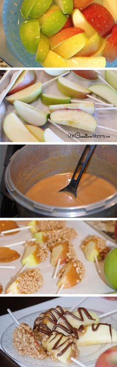 Easy steps for making Caramel Apple Pops {OneCreativeMommy.com} Caramel candy recipe included.  Everything is more fun on a stick!